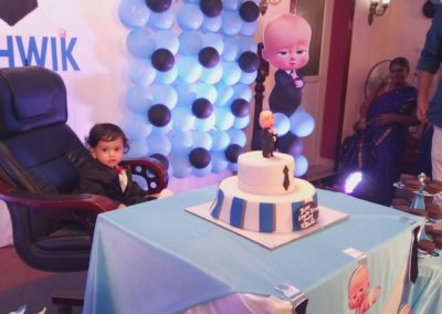 Boss Baby Theme Cake and cutout Chennai Event Emcees and Entertainers Birthday Decoration Team
