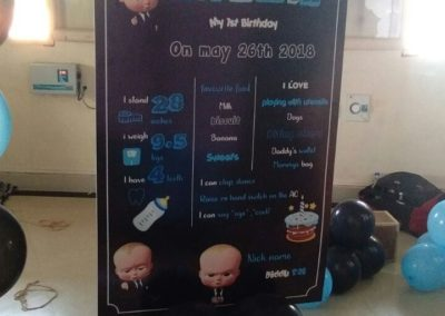 Boss Baby Theme Chalk Board Chennai Event Emcees and Entertainers Birthday Decoration Team