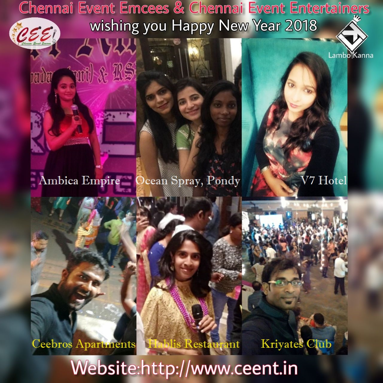 Chennai Event Entertainers and Emcees wishing you Happy New Year 2018