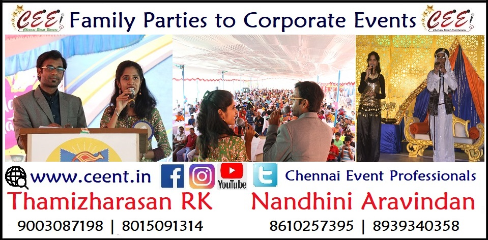Chennai Event Emcees Entertainers Professionals Nandhini and Thamizharasan