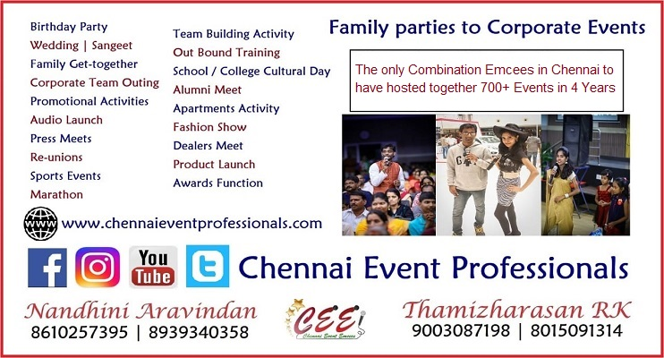 Chennai Event Emcees Professionals Entertainers Business Card contact Information