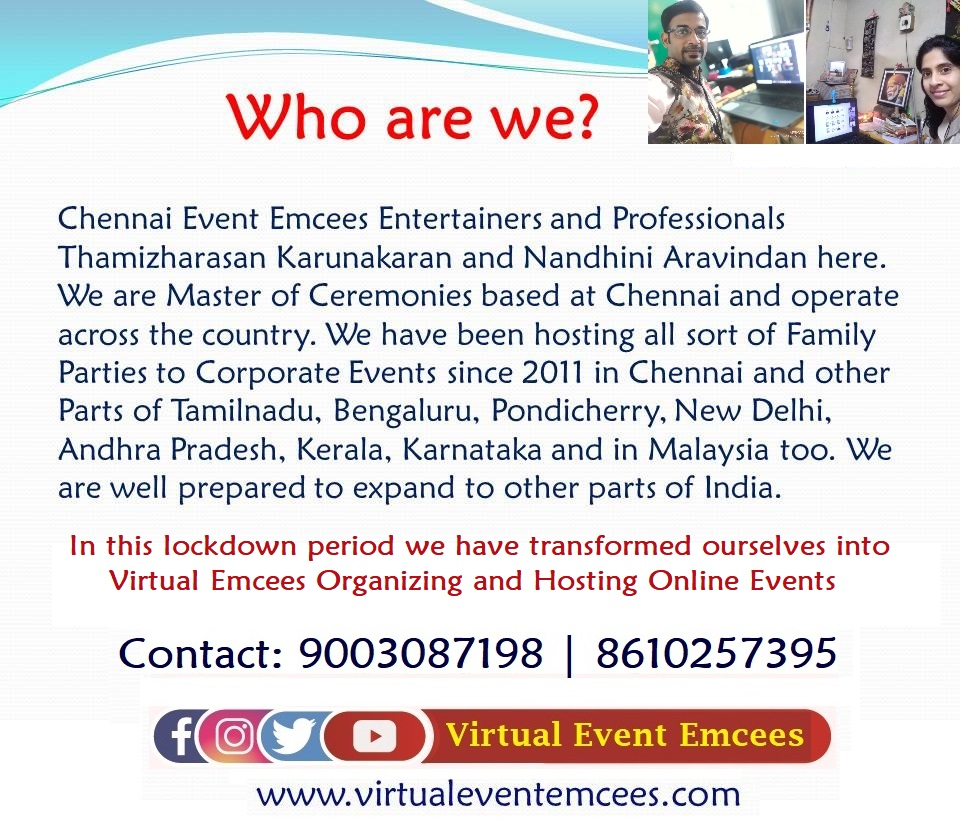 Virtual Event Emcees Thamizharasan and Nandhini Aravindan for Online Events
